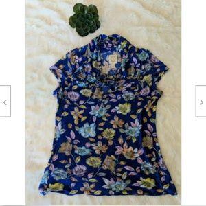 Ric Rac Anthropologie Floral Shirt Womens Size M